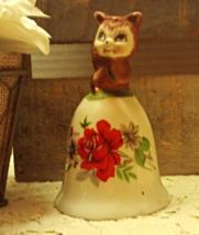 Vintage UCGC Porcelain Bell, Squirrel Bell, Red Rose Flower Design - $8.99