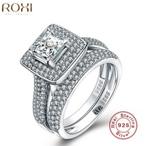 Sterling Silver Jewelry Ring Fashion Wedding Engagement Sets Women Zirco... - $28.00