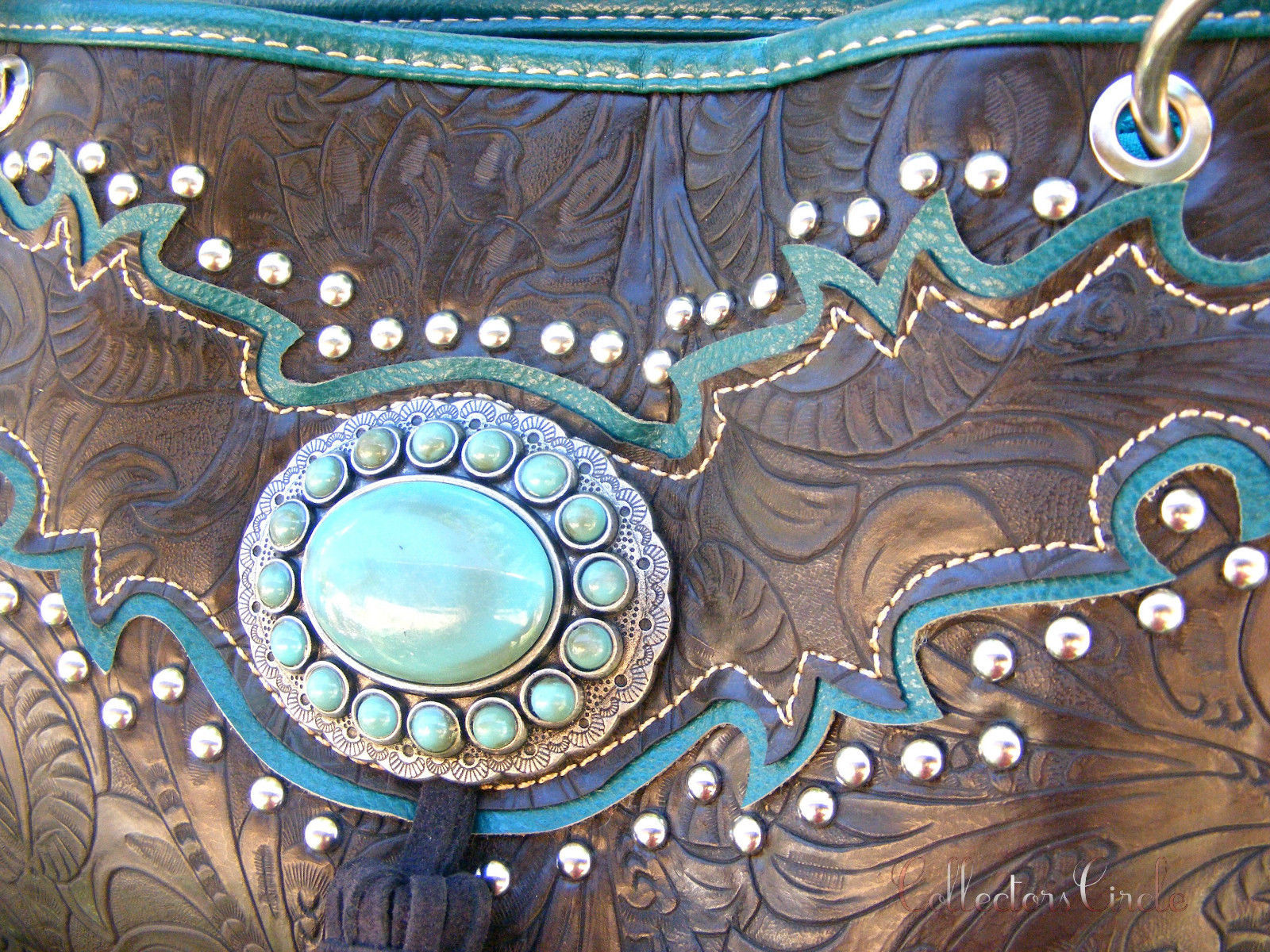 Montana West Turquoise Concho Tassel Floral Tooled Cowgirl Handbag Wallet Coffee