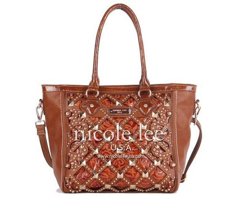 Nicole Lee ELEANOR STUDDED Faux Croc Trim TOTE BAG Handbag - Brown - £65.73  GBP f693f0054d
