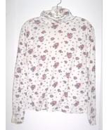Size S - Currents White Rose Floral Print Cotton Blend Turtleneck Shirt - $16.24