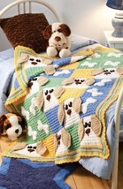 W563 Crochet PATTERN ONLY Cute Puppy Dogs & Bones Afghan Pattern - $9.50