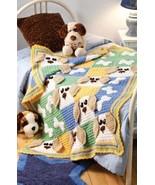 W563 Crochet PATTERN ONLY Cute Puppy Dogs & Bones Afghan Pattern - $9.50