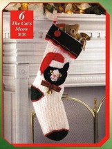X892 Crochet PATTERN ONLY Cat's Meow Christmas Stocking Pattern - $11.50