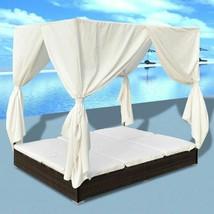 vidaXL Outdoor Sun Lounger Poly Rattan Wicker Brown Double Beds Curtain ... - $361.99