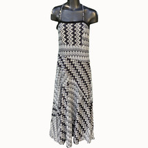 Lapis Maxi Dress Womens Size Med. Sleeveless Chevron Black White Blue Gray - $24.72