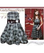 Plaid Convertible Tube Dress w/ Belt Dark Gray S - $11.40