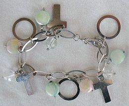 Quartz and silver crosses bracelet - $68.00