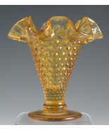 Fenton Amber Hobnail Ruffled Crimped Mini-Vase - $11.65