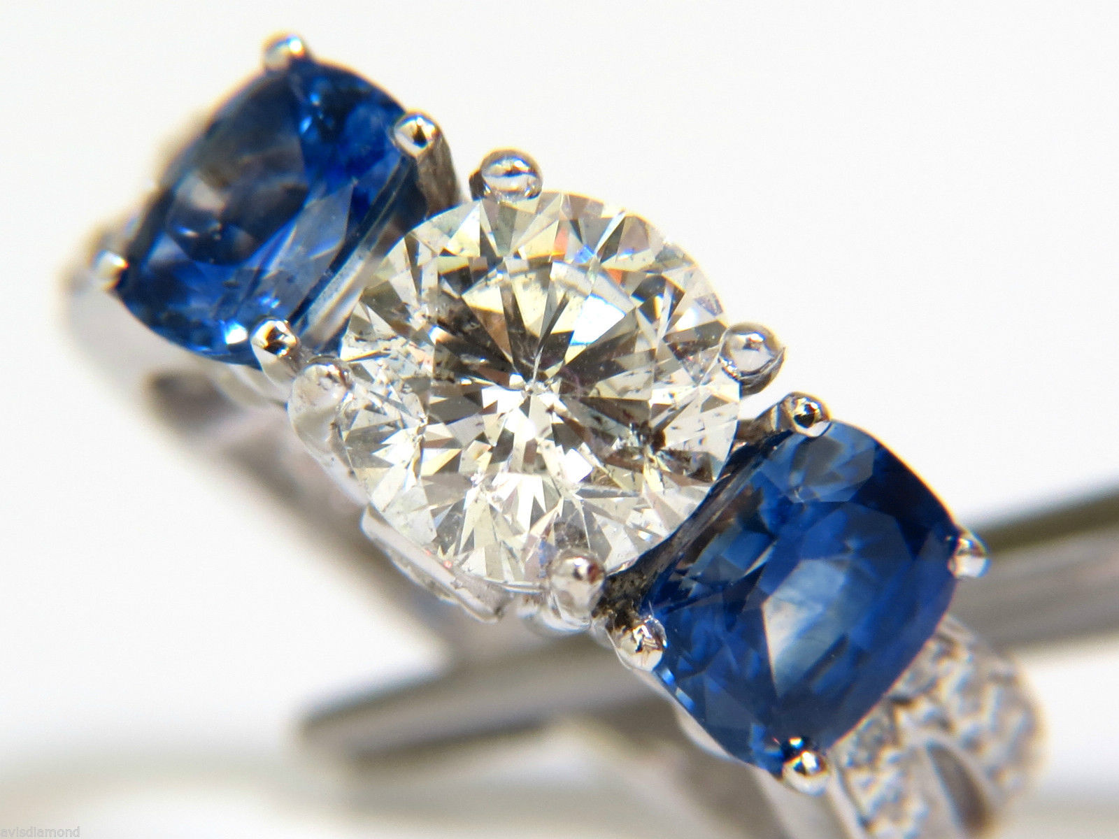 $ 4 27CT SAPPHIRE DIAMOND RING THREE STONE CLASSIC 14KT Diamond