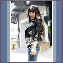 Retro Big Lapel Red or Black Faux Leather Motorcycle Oblique Zipper Jacket image 2