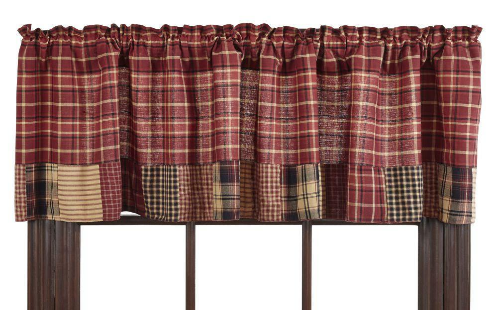 Primary image for Olivia's Heartland country primitive rustic red plaid Rutherford VALANCE curtain
