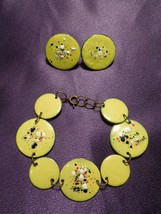 Vintage Enamel Modernist Art Copper Link Bracelet & Screw Back Earrings Set - $19.80