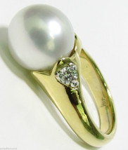 $2650 .20CT DIAMONDS & NATURAL SOUTH SEAS WHITE PEARL RING 14KT - $675.00