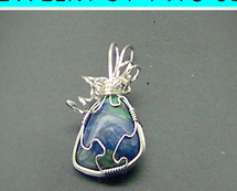Jewelry By Two Gems (Wp11) Sterling Silver Wire Wrap Pendant w Azurite
