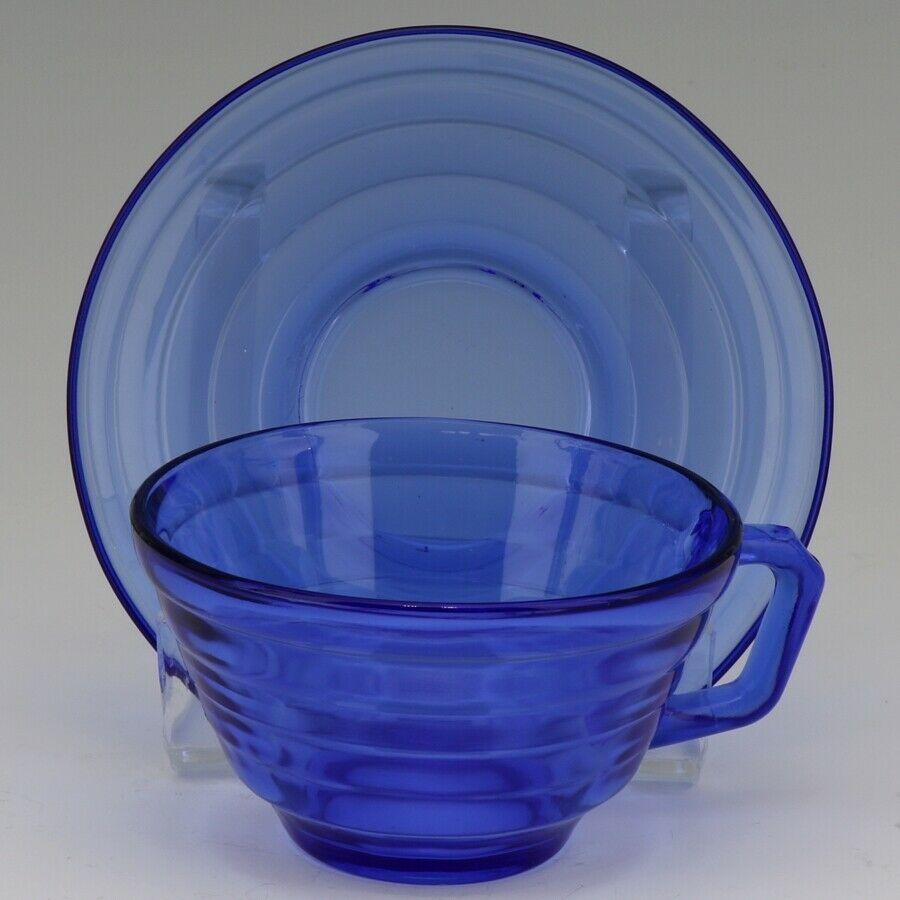 Hazel Atlas Cobalt Blue Moderntone Depression Glass Cup and Saucer Set