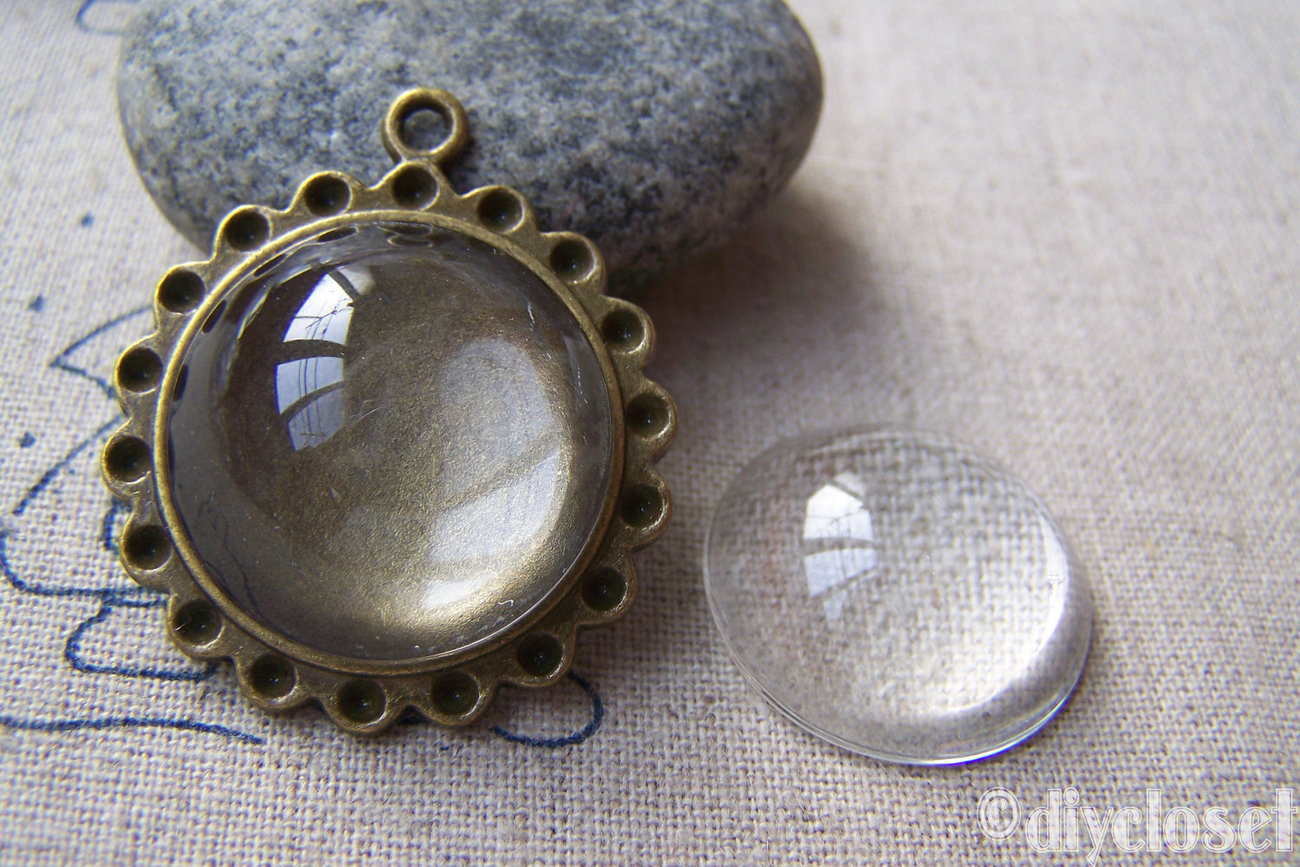 10 pcs of Crystal Glass Round Cabochon Cameo 22mm A2166