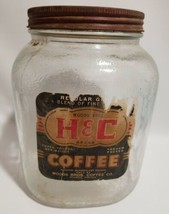 H&C Coffee Jar Lid Embossed Diamond Label 3 Lbs Woods Bros Roanoke VA Glass - $14.52