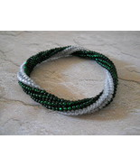 Beaded Bangle Bracelet, Emerald Green & White; Tubular Spiral Herringbon... - $29.00