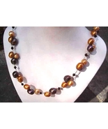 NEW MULTICOLOR FW  PEARLS  cluster   NECKLACE Bronze  PEacock  Gray +  ... - $32.99