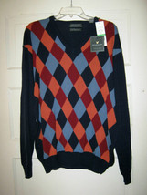 Lyle & Scott Muirfield navy blue argyle combed cotton sweater L NWT Scot... - $44.54