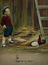 Old Divided Postcard Exaggeration Little Boy Chicken Laying Egg You're A... - $11.71