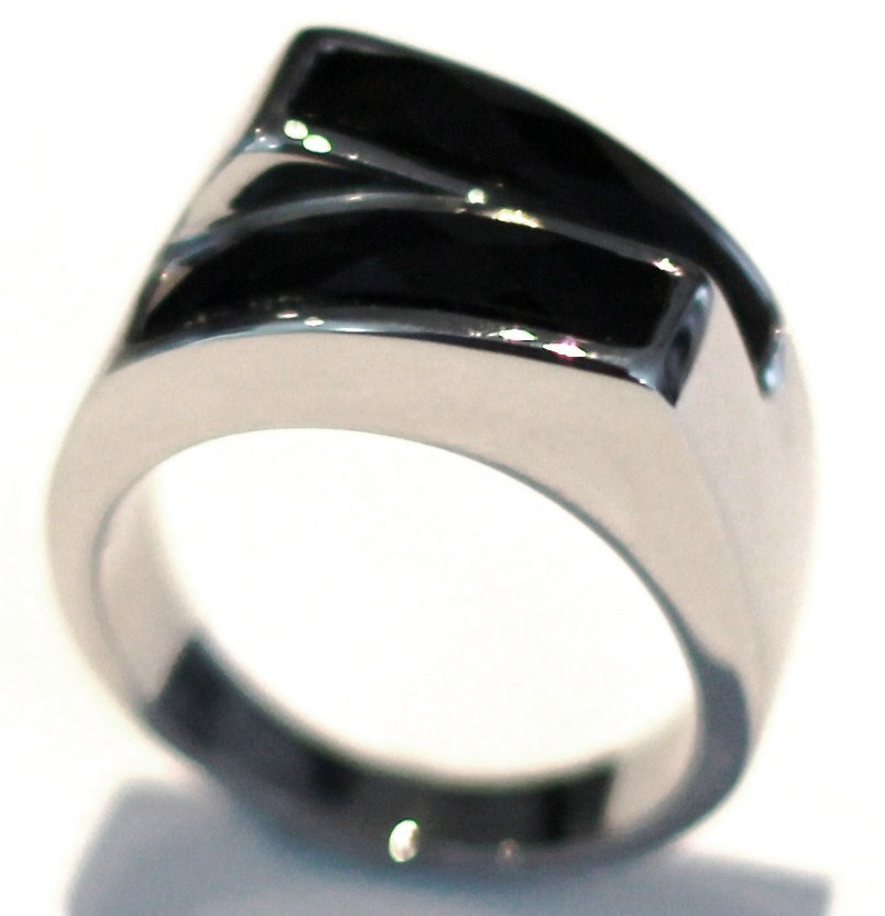 SSR4950 Black Onyx Chunky Stainless Steel Statement Ring