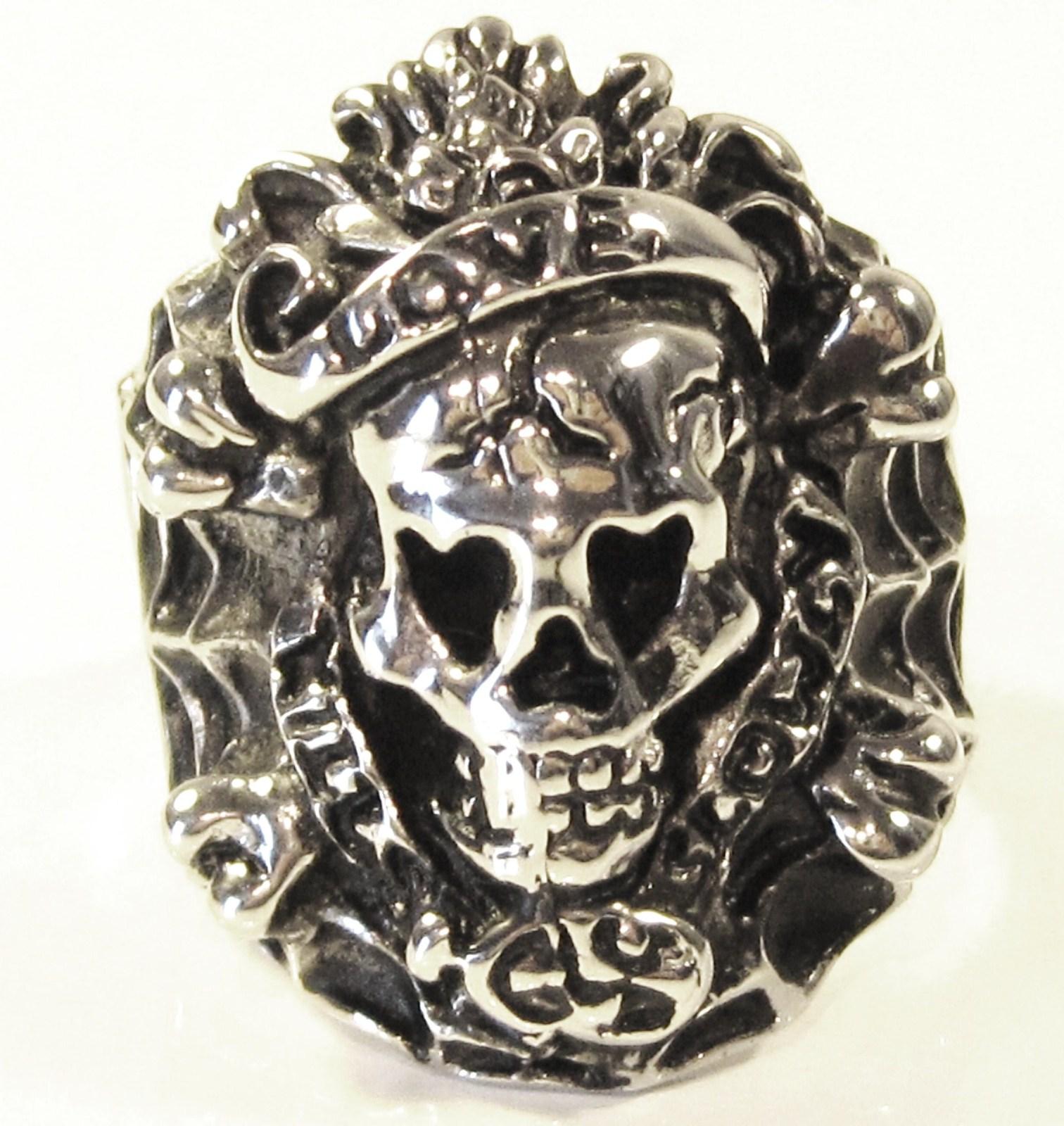 SSR7000 Love Kills Slowly Chunky Skull Stainless Steel Ring