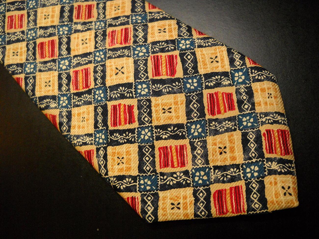 Il Gattopardo Neck Tie Boxes in Golds Yellows Reds Blues White Italian Made Silk