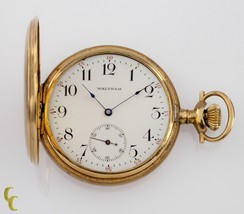 14k Yellow Gold Waltham Full Hunter Pocket Watch 15 Jewel Size 12 Gr 220 1901 - $1,084.39