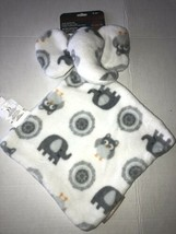 Blankets and Beyond Snuggle Blankie Elephant Approx 11 x 11 Lovey White/... - $14.99