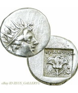 RHODES. head of Helios / Rose, ISIS crown 88 BC Ancient Greek Silver Dra... - $224.10