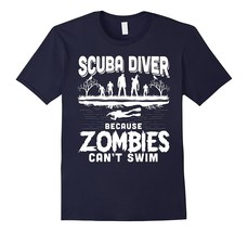 Scuba Diver Because Zombies Can't Swim Halloween T Shirt Men - $17.95+