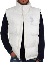Us Polo Assn Men's Premium Classic Zip Up Puffer Big Pony Off White Vest