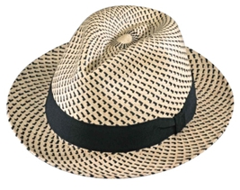Henschel Panama Straw Fedora Mid Size Brim Handmade Ecuador Ribbon Band ... - $111.00