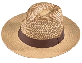 Henschel Panama Straw Outback Patterned Crown Handmade Ecuador Ribbon Band Wheat - $114.00