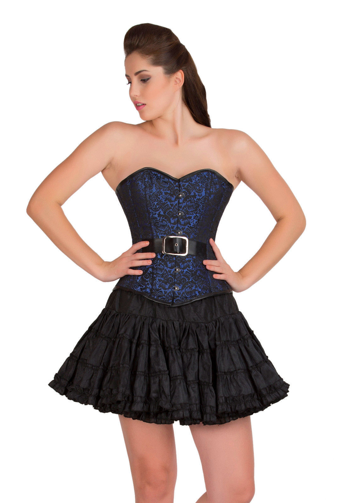 621041594a6 57. 57. Previous. Blue Black Brocade Goth Burlesque Overbust Top   Tissue  Tutu Skirt Corset Dress