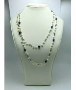 """Women's Fashion Freshwater Pearls & Navy Beads Necklace with Clasp 44"""" - $24.65"""