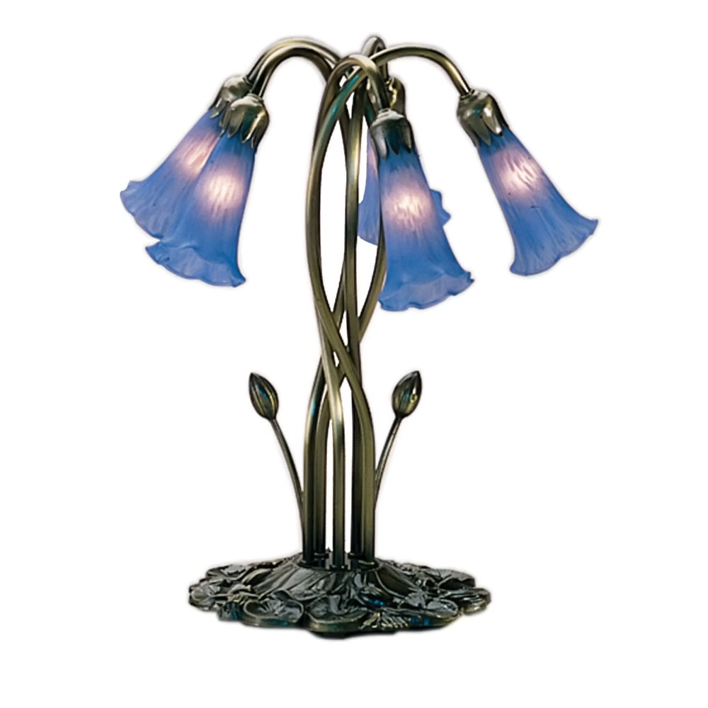 "Meyda Home Indoor Decorative 16.5""H Blue Pond Lily 5 Lt Accent Lamp 1235-14995"