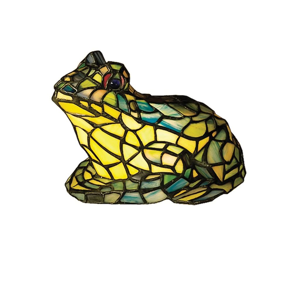 "Meyda Home Indoor Decorative 7""H Frog Tiffany Glass Accent Lamp 1235-16401"