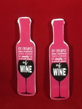 2 Pink Wine Glass Fun Fridge Magnets Gifts Under 10 Dollars Free Shipping - $7.91
