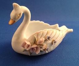 Vintage Porcelain Swan Trinket Dish w/Pink Roses Blue Flowers Gold Trim ... - $4.99