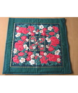 Quilted Christmas Table Topper Mat Machine Quilting Hand Appliqued - $9.94