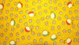 30s Patt Antique Treasures Red Green White Flowers Yellow Cotton Fabric  - $8.95