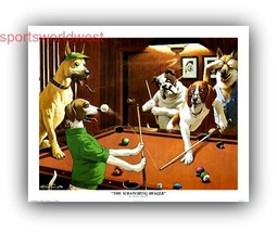 Dogs Play Pool art Print - oops Scratching Beagle  - $6.95