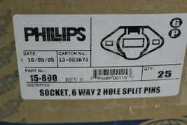 Phillips 15-600 Trailer Socket 6 way 2 Hole Split Pins New image 2