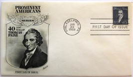 January 29, 1968  First Day of Issue, Fleetwood Cover, Thomas Paine #18 - $2.14