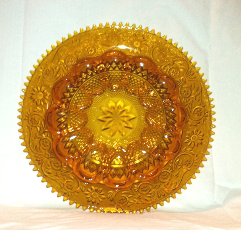 Vintage Tiara Exclusives Indiana Glass amber deviled egg plate platter