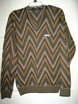 Pri Knit brown green gold zig zag flame knit L/S sweater 38  pull-over v... - $29.59