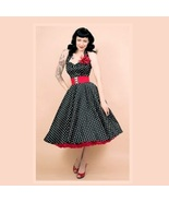 Retro 50's Rockabilly Swing Black and White Pol... - £75.23 GBP